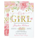 It's A Girl Floral Butterfly Baby Shower Invite
