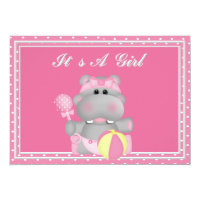 It's a Girl Hippo Baby Shower Invitation