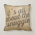 It's all about the Snuggle Vintage Burlap Throw Pillows