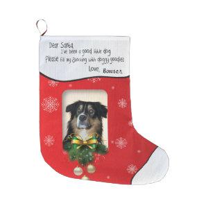 I've Been a Good Dog Xmas PHOTO Red Snowflake Large Christmas Stocking
