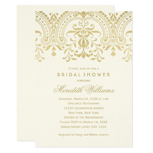 Ivory and Gold Vintage Glamour | Bridal Shower Invitation