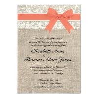 Ivory Lace Rustic Burlap Wedding Invitation- Coral 5x7 Paper Invitation Card