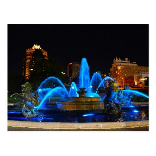 J.C. Nichols Fountain in Blue, Kansas City Postcards