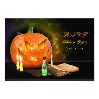 Jack O'Lantern Halloween Wedding Reply Card Personalized Invitation