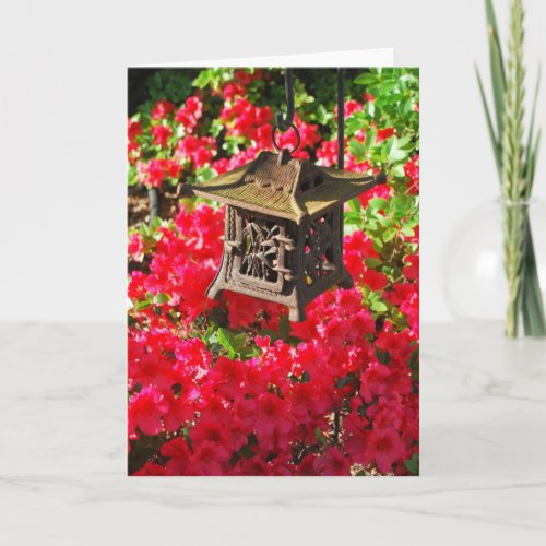 Japanese Lantern and Azaleas Greeting Card card