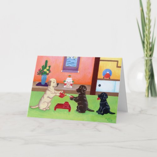 Japanese New Year's Day Labradors 2 Holiday Card
