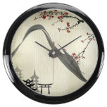 Japanese,vintage,cherry blossom,water colour,art, fish tank clock