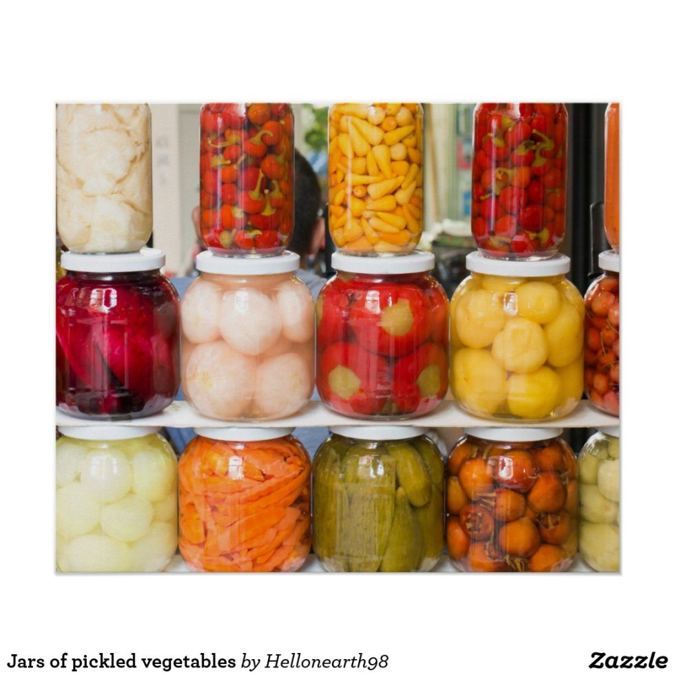 Jars of pickled vegetables poster