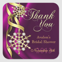 Jazzy Jeweled Snowflake Pink Thank You Sticker