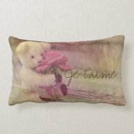 Je T'Aime Teddy Bear Dreaming Lumbar Pillow