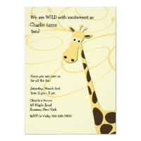 Jeffrey Giraffe Birthday Party Invitation