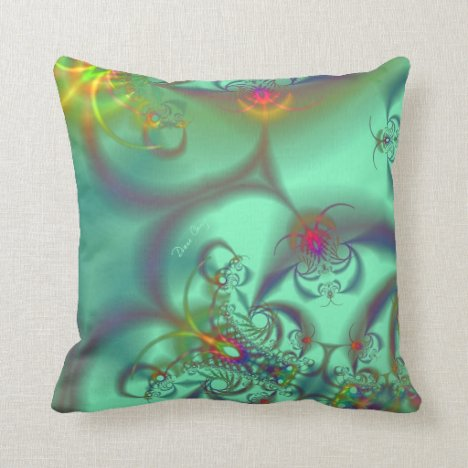 Jeweled Staircase - Abstract Emerald Kaleidoscope Throw Pillow