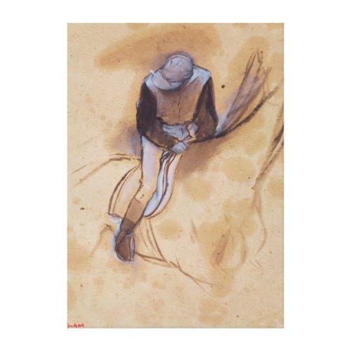 Jockey flexed forward standing in the saddle wrappedcanvas