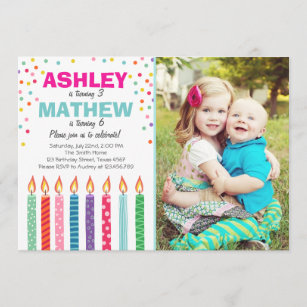 double birthday invitations zazzle
