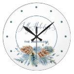 Jolly Hollidays Winter Evergreens Large Clock