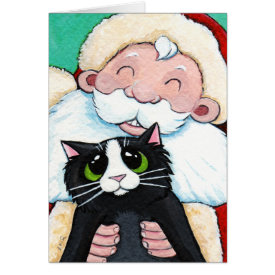Jolly Santa Claus and Black Cat Christmas Card