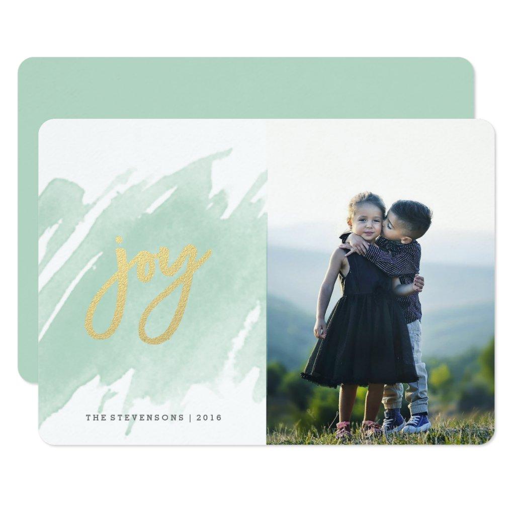 Joy Green Watercolor Brush Stroke Holiday Card