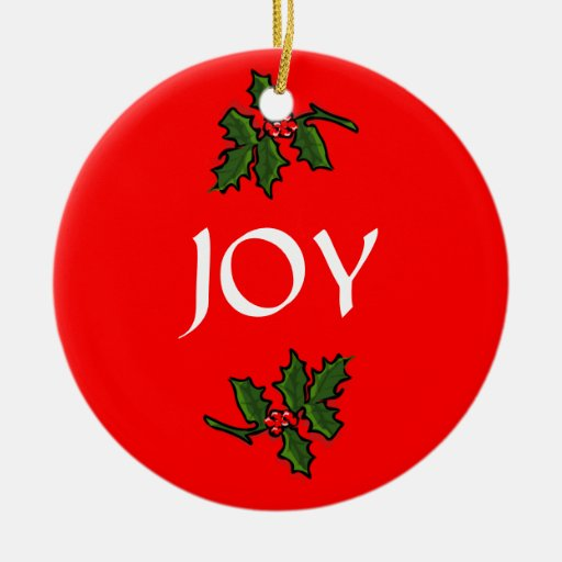 Joy Word Holly With Red Berries Christmas Green Ceramic