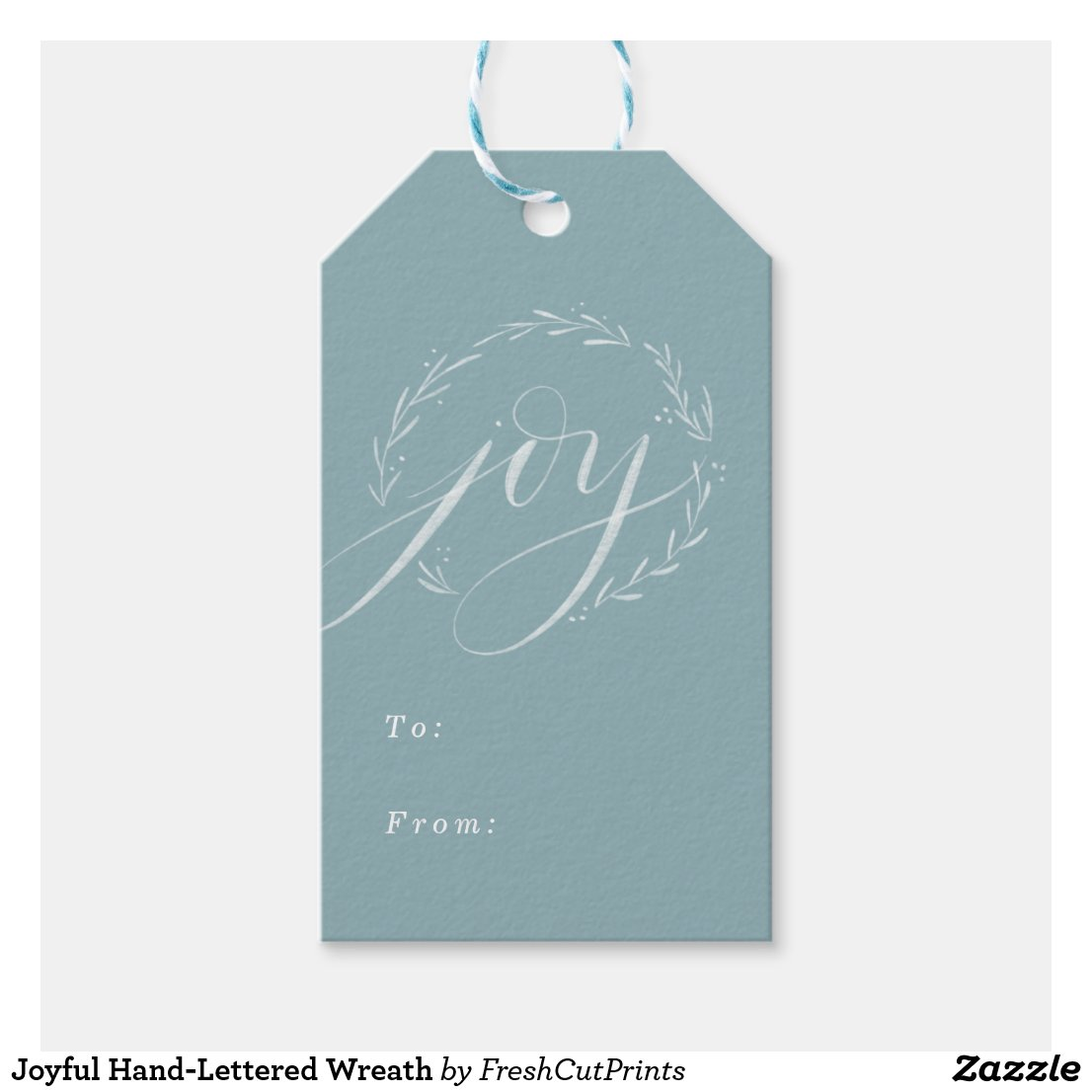 Joyful Hand-Lettered Wreath Gift Tags
