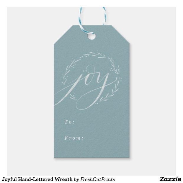 Joyful Hand-Lettered Wreath Gift Tags