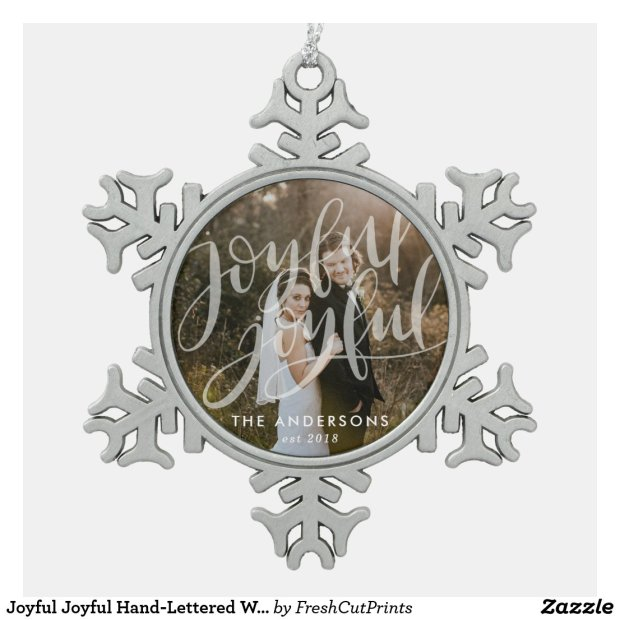Joyful Joyful Hand-Lettered White Overlay Photo Snowflake Pewter Christmas Ornament