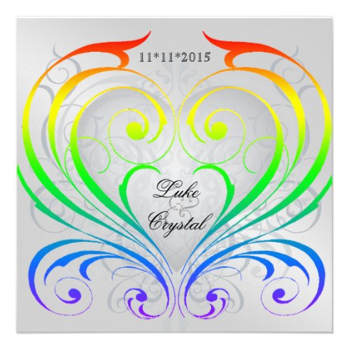 jubilee rainbow heart wedding invitation - Rainbow Wedding Invitations