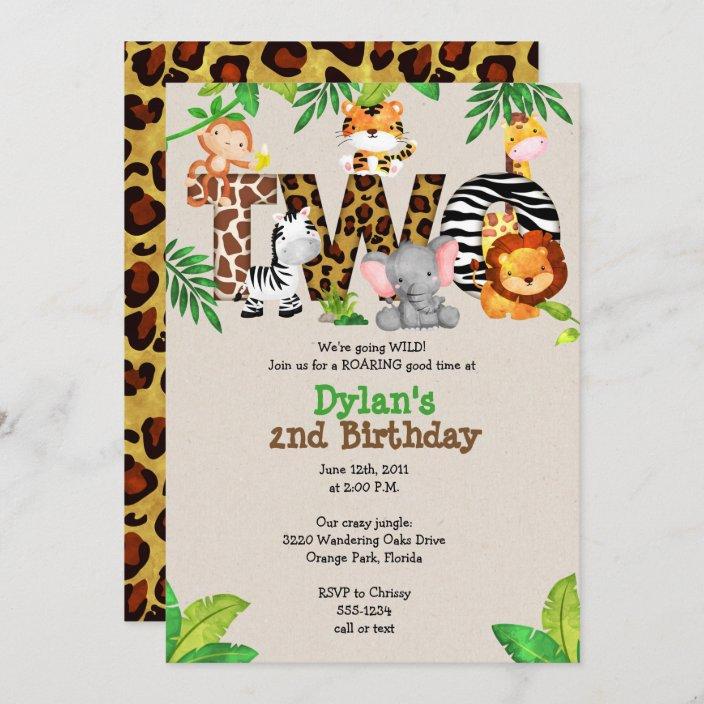 jungle 2nd birthday party invitations zazzle com
