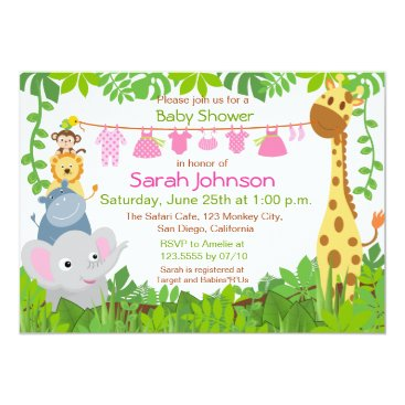 Jungle Animals Safari Girl Baby Shower Invitation