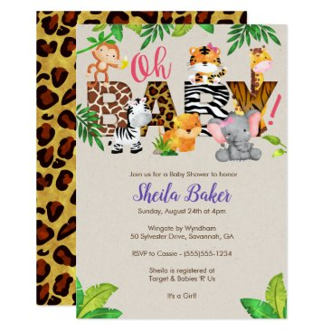 Jungle Baby Shower Invitation - Girl Baby Shower