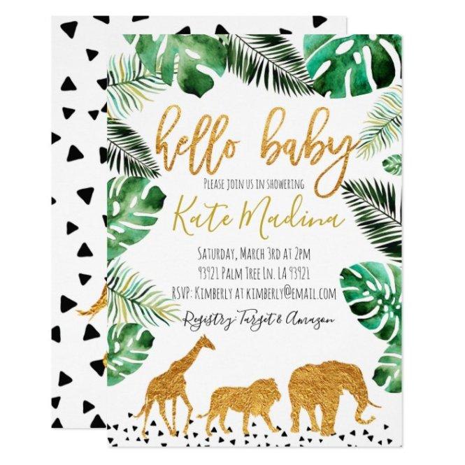 Jungle Baby Shower Invitation Gold