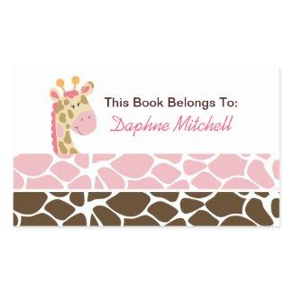 Jungle Giraffe Pink Book Plate Sticker