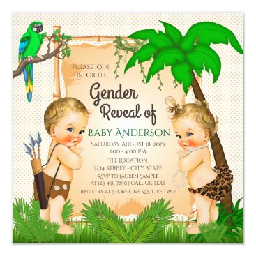 Jungle Safari Gender Reveal Shower Invitation