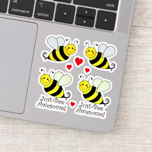 Just Be Awesome Cute Bumble Bees Contour Cut Sticker