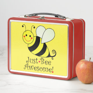 Just Bee Awesome Cute Yellow Bumble Bee Metal Lunch Box