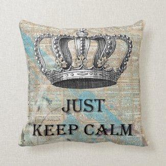 Just Keep Calm Vintage Abstract Art Grunge Design Pillow
