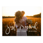 Just married Elegant romantic wedding photo Postcard
