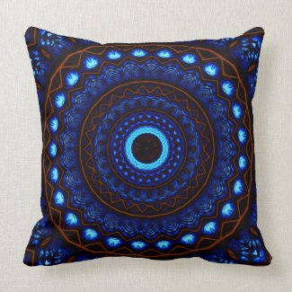Kaleidoscope 4 abstract (blue) Pillows mojo_throwpillow