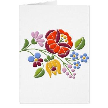 Kalocsa Embroidery - Hungarian Folk Art Card