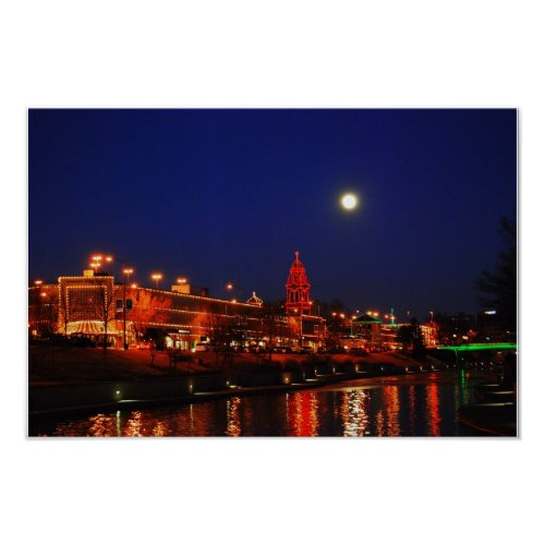 Kansas City Plaza Christmas Lights Under Full Moon print
