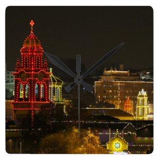 Kansas City Plaza Lights Square Wall Clock