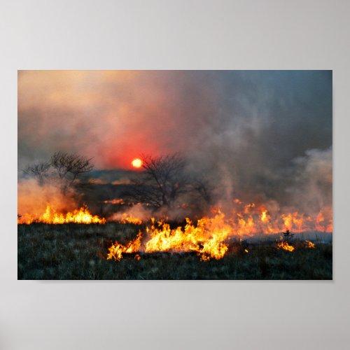 Kansas Prairie Burn at Sunset Poster