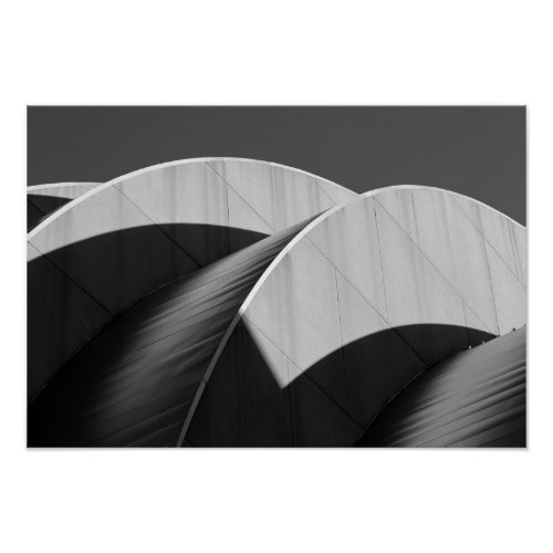 Kauffman Center Curves and Shadows Black and White Print