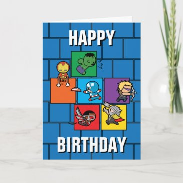 Kawaii Avengers In Colorful Blocks Card