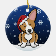 Kawaii Cartoon Fluffy Pembroke Welsh Corgi Christmas Tree Ornament
