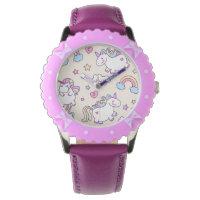 Kawaii chubby flying unicorns rainbow pattern wristwatch