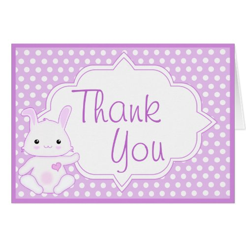 Kawaii Cute Bunny Rabbit in Purple Thank You
