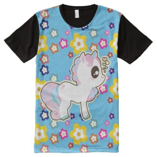 Kawaii Unicorn Baby Flower Power Tshirt blue All-Over Print T-shirt