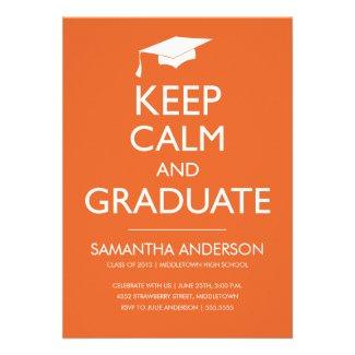 Keep Calm and Graduate Invitation - Orange