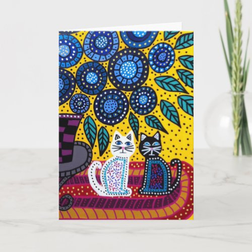 Kerri Ambrosino Art Card Cats Flowers Friends