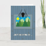 ❤️ Kids at Summer Camp Spider Dropping By Card